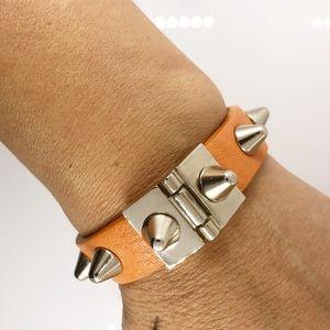 Faux leather spike design bracelet